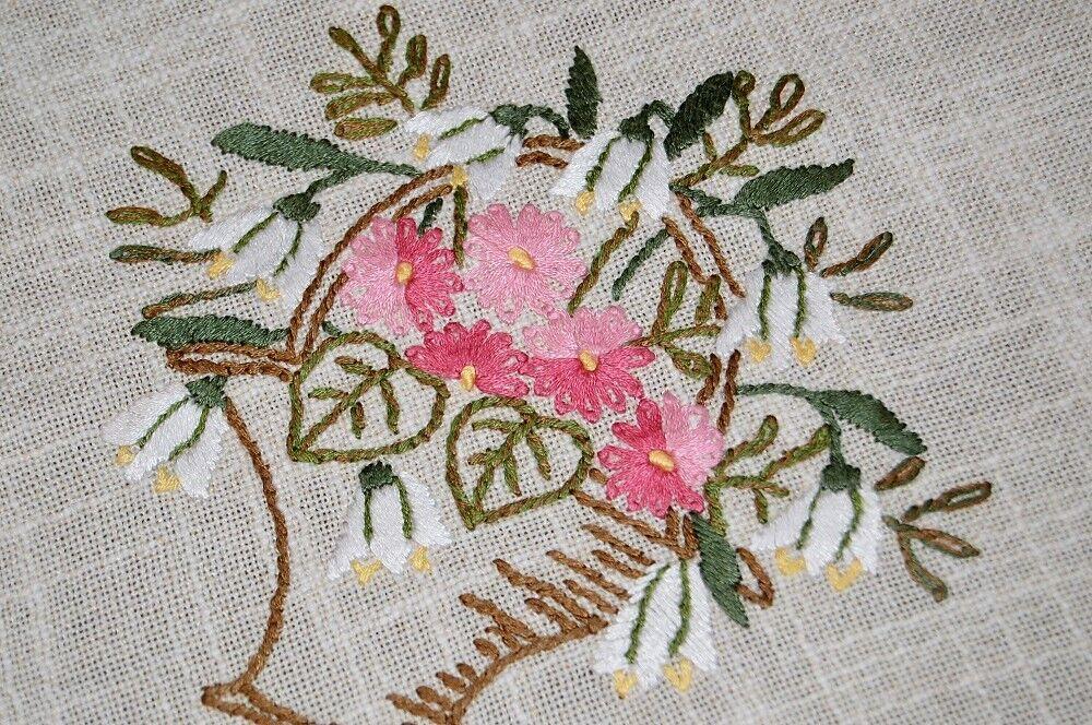 SPRING BASKET OF rose FLORAL BLOOMS  VTG GERMAN HAND EMBROIDErouge TABLECLOTH