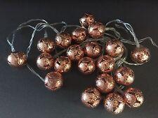Modern Copper Rose Gold Lantern bedroom 20 LED String Fairy Lights Moroccan Ball
