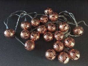 Modern Copper Rose Gold Lantern bedroom 20 LED String Fairy Lights Moroccan Ball eBay