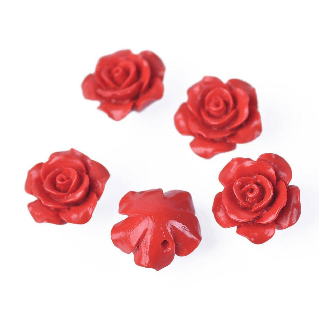 5 x Carved Red Cinnabar Faux Lacquerware Flower Coin Beads 21mm Round OBT16