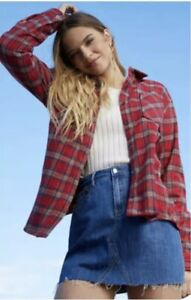 NEW-PS-LA-PacSun-Shacket-Flannel-Red-Plaid-Shirt-Jacket-Women-s-Size-M-L-NWT