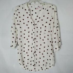 Bongo-Women-039-s-Top-White-w-Lady-Bug-Print-Button-Down-Roll-Tab-3-4-Sleeves-Size-S