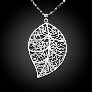 New-Wholesale-925-Sterling-Silver-Filled-Womens-Filigree-Leaf-Charm-Necklace