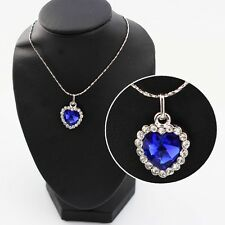 Collier chaine pendentif coeur TITANIC Swarovski® Elements plaqué or 18K BLEU