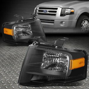 FOR 2007-2014 FORD EXPEDITION PAIR BLACK HOUSING AMBER SIDE HEADLIGHT/LAMP SET