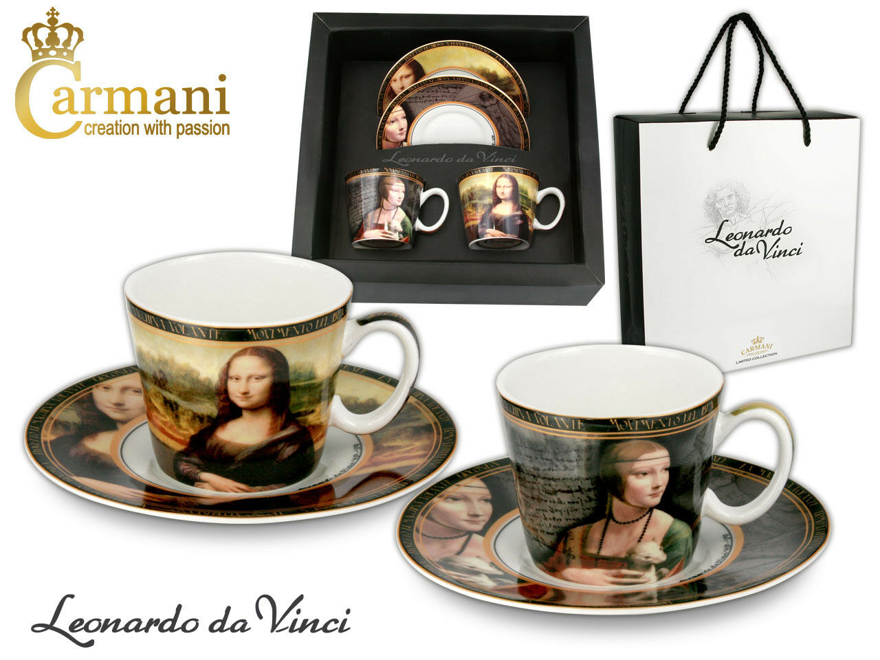4 tlg. Mocca Set Leonardo Da Vinci - Lady with an Ermine + Mona Lisa + Karton    | Offizielle