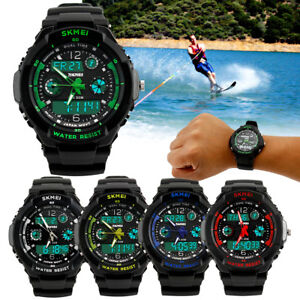 New Mens LED Digital Date Alarm Waterproof Rubber Sports Army Watch Wristwatch