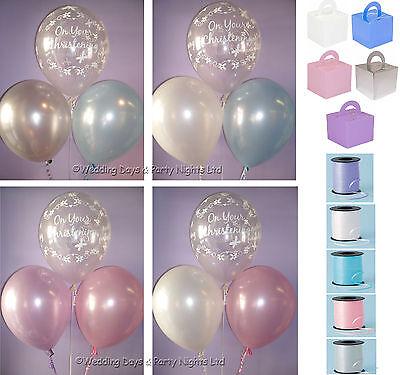 15 Table Kit Boys Girls Christening Helium Balloons Ribbon Weights Decorations