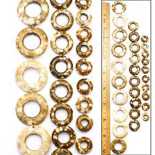 12mm-26mm Antiqued Batik Mud Cloth Natural Bone Round Donut Beads 3 Sizes 30pc