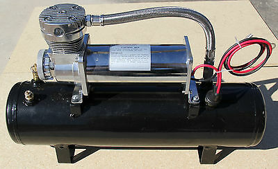 12 VOLT 200 PSI AIR COMPRESSOR W TANK PSI SWITCH TRAIN HORN LIFT BAGS SUSPENSION