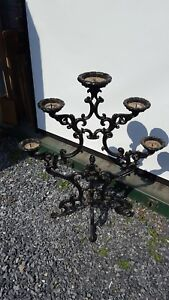 VINTAGE-VERY-LARGE-HEAVY-IRON-FLOOR-CANDELABRA-BLACK-41-INCHES-TALL