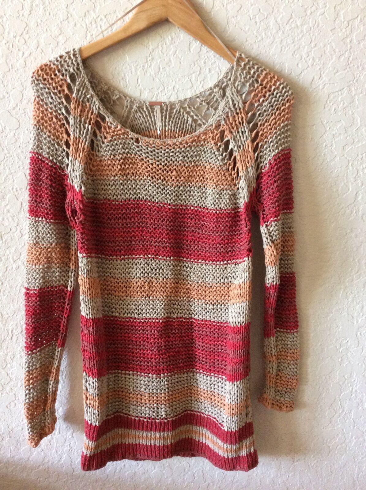 00d47ee08cd7 Free People Sleeve Knit Sweater orange Red Beige S Long Stripe ...