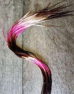 Feather hair extensions Pink Neapolitan black ombre ghost