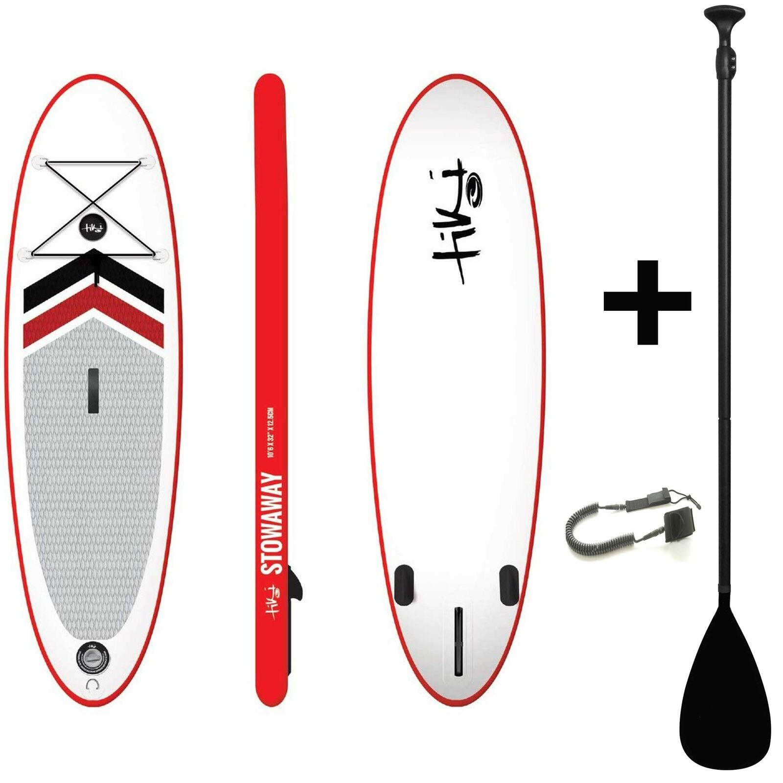 Tiki polizón 10ft 6 + 3Pce Negro Remo SUP inflables + Correa + tablero de Stand Up