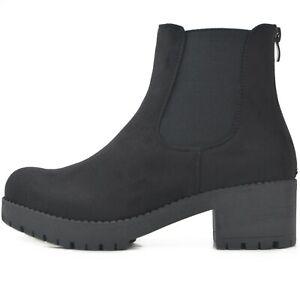 Plataforma-de-las-senoras-de-Chelsea-botas-tobillo-botas-perfil-unico-en-terciopelo-con-cremallera