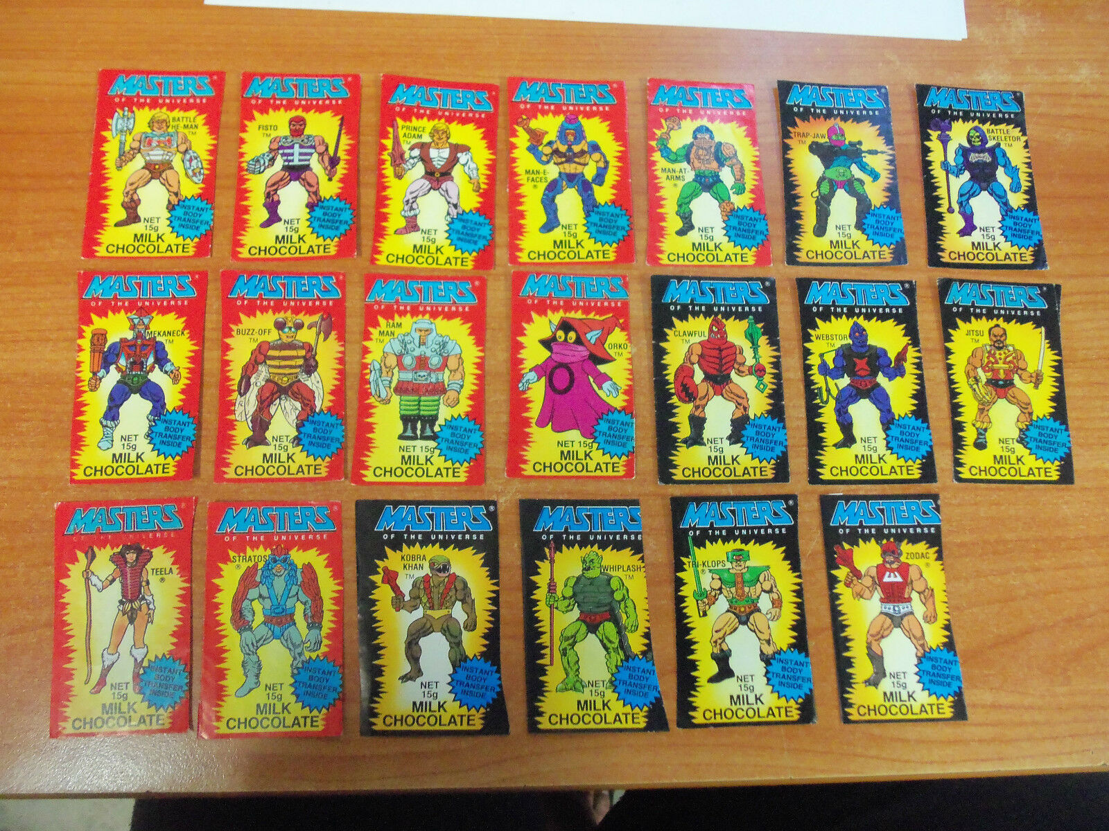 Rare Vintage Masters of the Universe Comp Set of 20 Chocolate Wrapper Tattoo