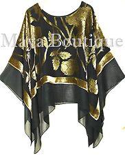 Maya Matazaro Layered Poncho Top Silk Burnout Velvet Chiffon Black Antique Gold