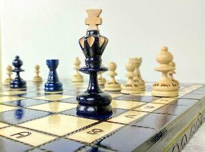Schach-edles-Schachspiel-aus-Holz-Schachbrett-Handarbeit-Blau-35x35-cm