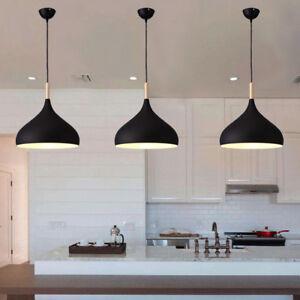 Details about Modern Pendant Light Kitchen Black Pendant Lighting Bar Lamp  Wood Ceiling Light