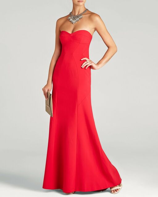 BCBG Max Azria 1313 Womens Surrey Red Strapless Prom Evening Dress ...