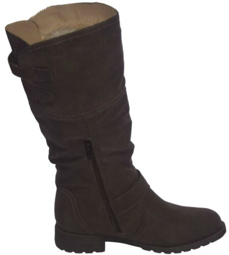 Ladies Spot On F50321 Black Or Brown Synthetic Casual Warm Lined Mid Calf Boots