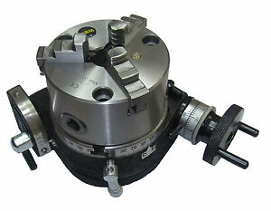 RDGTOOLS-NEW-100MM-TILTING-ROTARY-TABLE-amp-100MM-3-JAW-CHUCK-ENGINEERING-TOOLS