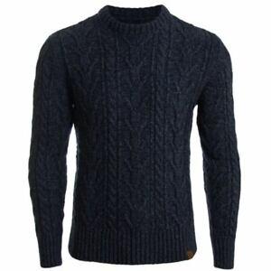 Details about Superdry Men's Jacob Crew Neck Cable Knit Jumper Black Twist Sizes: S XXXL