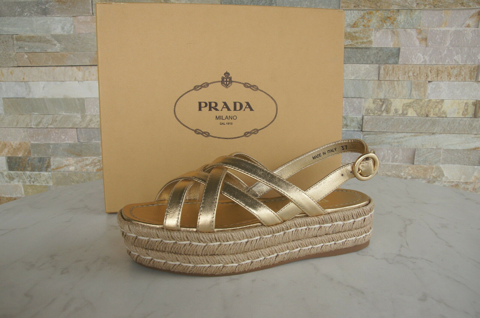 PRADA 37 Platform Sandals Wedges 1x289h shoes Sisal Platinum NEW formerly