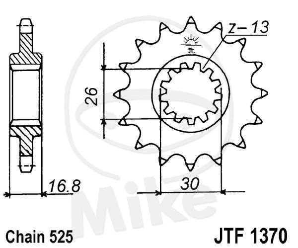 JT Piñón 16 Dientes 525 Paso Conmutable / F1370-16 JT Sprockets JTF1370.16