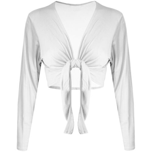 New Womens Ladies Wrap Jersey Bolero Cardigan Full Sleeved Shrug Tie Crop Top