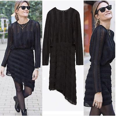 NEW ZARA 2015 BLACK SHEER BOUCLÉ ASYMMETRIC DRESS ALL SIZES RARE