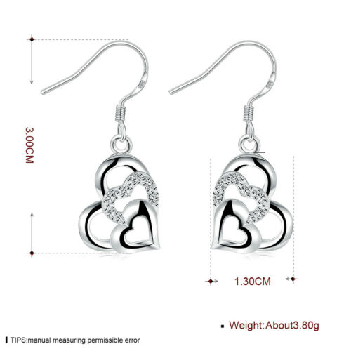925 Sterling Silver Fashion Jewelry Accessories Lovely Heart Femmes Boucles D/'oreilles E791