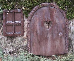 Fairy-Garden-Door-amp-Window-Cast-Stone-Hand-Painted