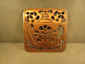 Vintage Copper Over Cast Iron Tea Pot Hot Plate Trivet & Wall Hanging