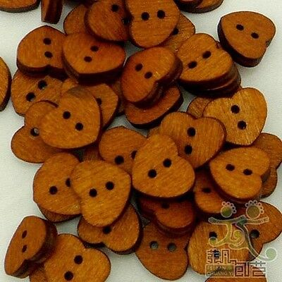 100-pcs-Brown-Wood-Heart-Buttons-Lot-13x15MM-Craft-Kids-Sewing-Cards-Embellish
