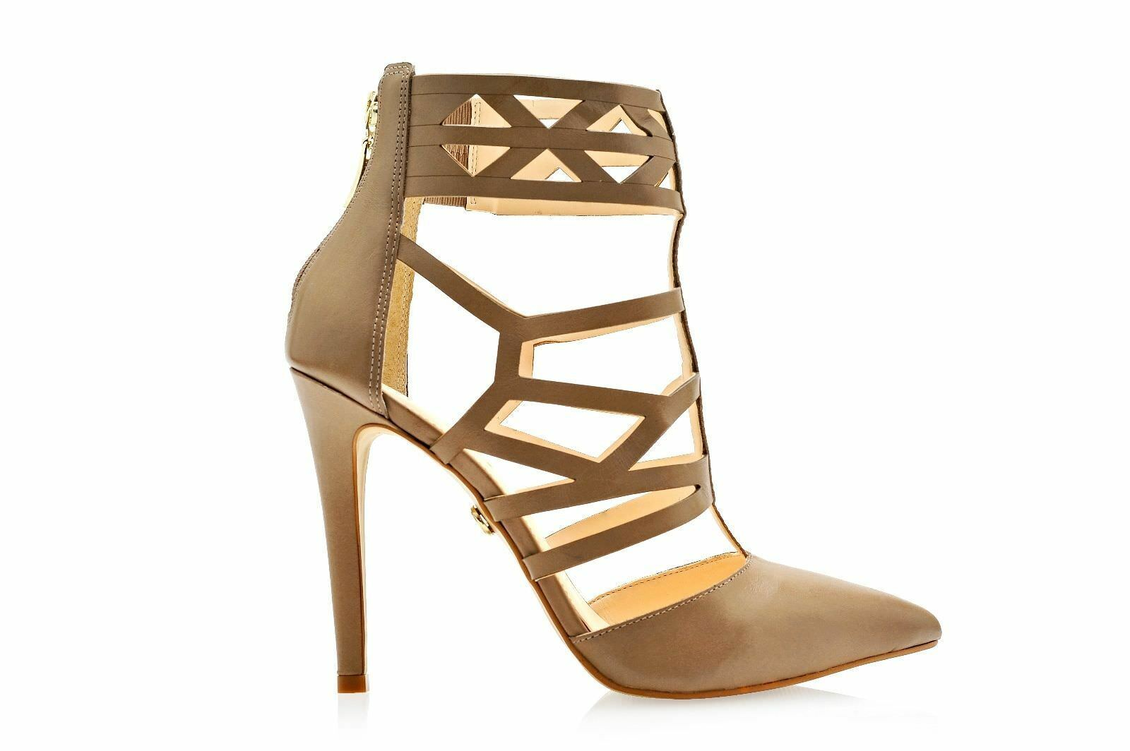 ESDRA POINTED TOE TOE TOE NUDE LEATHER SINGLE SOLE HIGH HEEL CUTOUT STRAPPY ANKLE StiefelIE 27db12