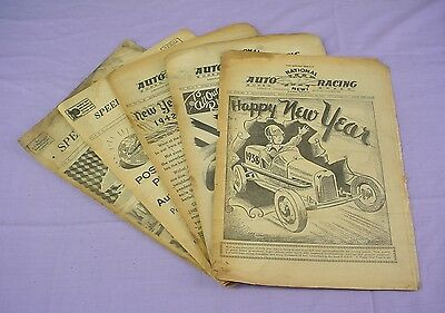 5 NATIONAL AUTO RACING/SPEED SPORT NEWS 1937-1948 Newspapers NEW YEAR ISSUES