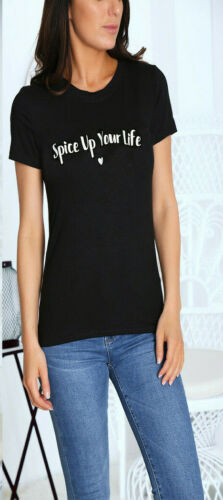 Women Sweet But Psycho /& Spice Up Your Life Slogan Short Sleeve T-Shirt Top