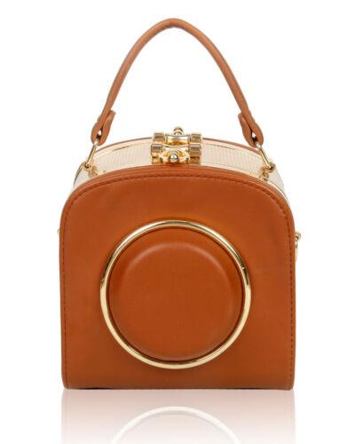 New Gold Tone Hardware Clutch Bag// Ladies Camera Shape Small Shoulder Handbag