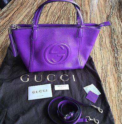 Authentic Gucci Soho Interlocking Tote Purple