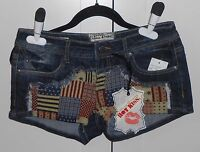 Women's Hot Kiss American Patchwork And Frayed Jean Shorts - Size 7 Juniors