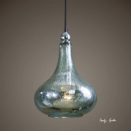 "NEW 14/"" TEARDROP MERCURY BLUE GREEN GLASS CHROME PLATED HANGING PENDANT LIGHT"