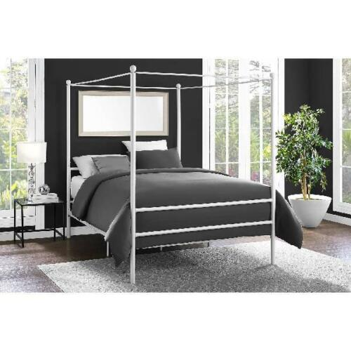 Canopy Bed Frame Queen Size Metal Princess Girl Kids Bedroom Furniture White