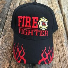 Black  Fire Fighter Ed Department Fighters Emblem Embroidered Hat Cap -S