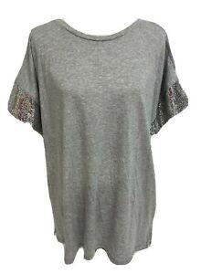 Michael-Kors-women-039-s-top-gray-short-sleeve-sequined-size-1X
