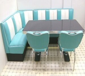 Details zu Retro Furniture 50s American Diner Restaurant Kitchen Corner  Booth Set 130 x 210