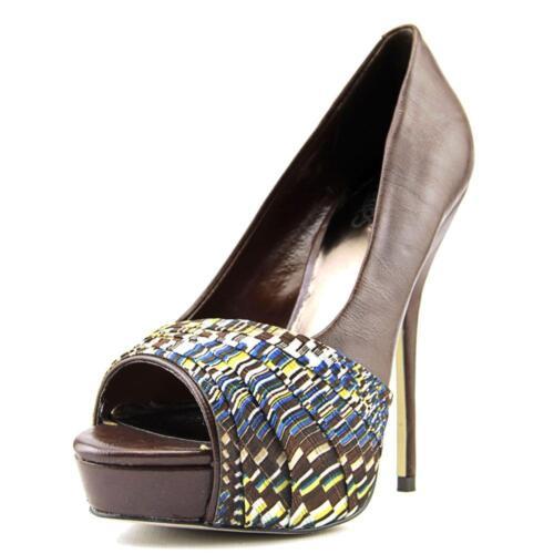 Carlos Santana Helena Brown Leather/multi-canvas Round Toe Heel Shoe, 8.5m $149