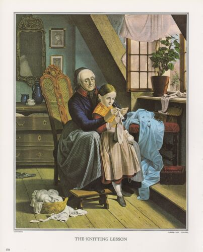 """1972 Vintage Currier /& Ives /""""KNITTING LESSON/"""" GRANDMOM Color Print Lithograph"""