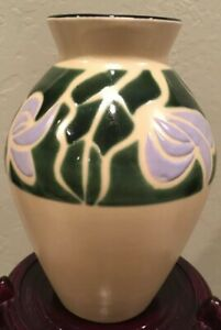 """Vintage Ceramic Hand Painted 8"""" Vase Signed W/ Makers Mark & Made In Japan"""