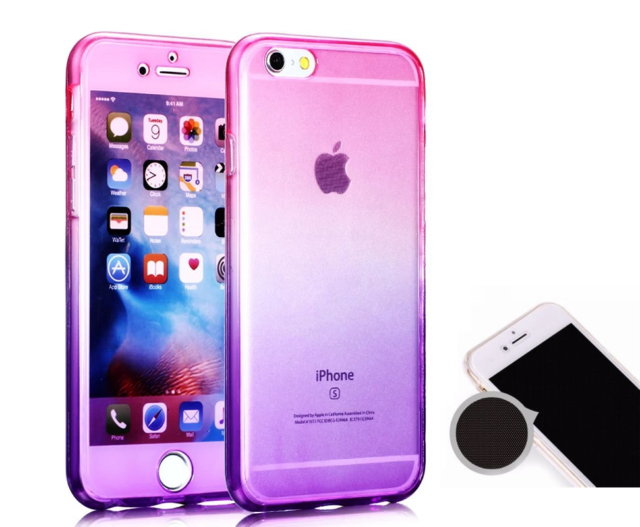 360 Full Coverage Gradient Silicone Gel Case Cover For iPhone 7 Plus